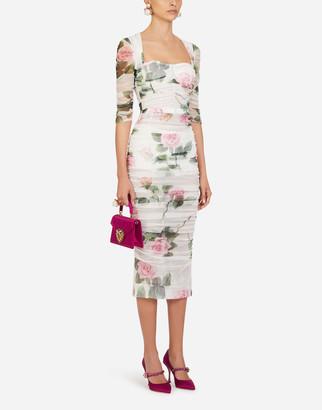 Dolce & Gabbana Tulle Longuette Dress In Tropical Rose Print