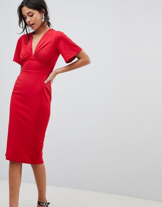 Asos Design DESIGN crepe tea dress with flutter sleeve-Red