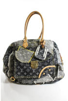 Louis Vuitton Monogram Denim Patchwork Bowly Satchel Handbag EVHB