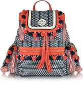 Tory Burch Scout Multicolor Nylon Pom-Pom Backpack