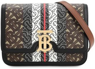 Burberry Small Tb Monogram & Canvas Shoulder Bag