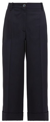 Valentino Wide-leg Wool-blend Trousers - Navy