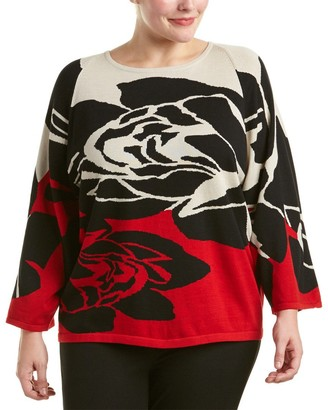 Joan Vass Women's Plus Size Rose Intarsia Sweater