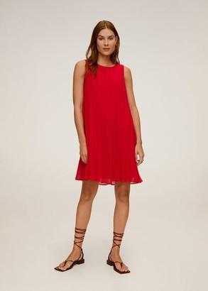 MANGO Pleated short dress red - 2 - Women