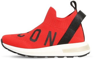DSQUARED2 Slip-on Knit Sneakers W/ Icon Print