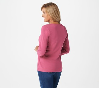 Denim & Co. Essentials V-Neck 3/4-Sleeve Top