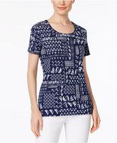 Karen Scott Petite Nautical-Print T-Shirt, Only at Macy's