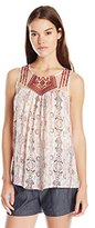 Blu Pepper Women's Sleeveless Embroidered Top with Allover Boho Brint