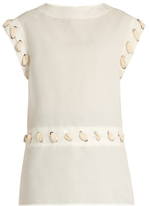 J.W.Anderson Cotton And Linen-blend Lace-detail Top - Womens - White