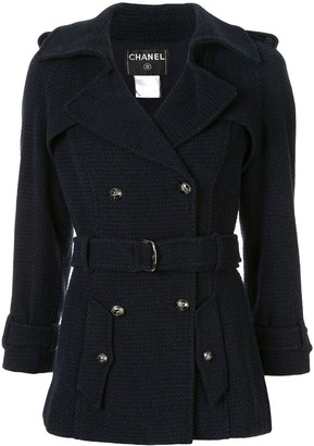 Chanel Pre-Owned woven fitted belted jacket
