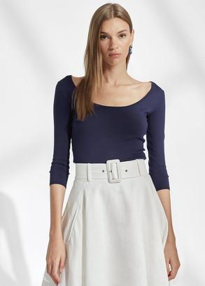 Ralph Lauren Silk Ballet-Neck Sweater
