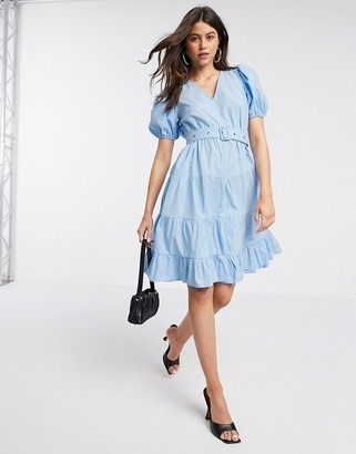 Vero Moda tiered smock dress with removable belt in blue