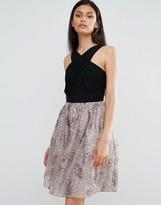 Little Mistress Skater Dress With Contrast Metallic Skirt