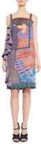 Mary Katrantzou Aello-Print Side-Ruffle Dress, Purple