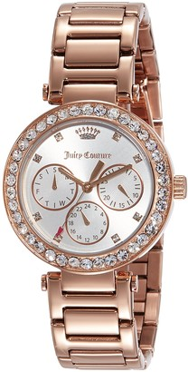 Juicy Couture Womens Multi dial Quartz Watch with Gold Plated Strap 1901505
