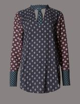 Marks and Spencer Printed High Neck Long Sleeve Blouse