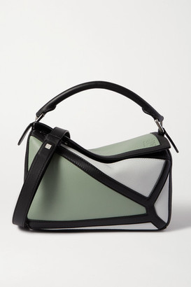 Loewe Puzzle Small Color-block Leather Shoulder Bag - Green