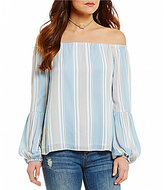 WAYF Rushville Off-the-Shoulder Long Sleeve Stripe Top