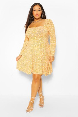 boohoo Plus Ditsy Floral Puff Sleeve Skater Dress