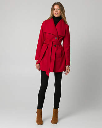 Le Château Cashmere-Like Open Collar Belted Coat