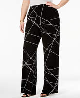Alfani Plus Size Printed Wide-Leg Pants, Only at Macy's