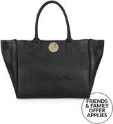 Hill & Friends Happy Pebbled Calf Tote Bag- Black