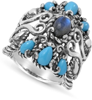 Carolyn Pollack Labradorite and Turquoise Rope Ring in Sterling Silver