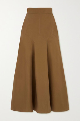Three Graces London Aria Cotton-poplin Midi Skirt - Tan