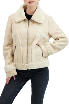 Sebby Collection Zip Front Faux Shearling Jacket