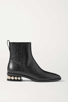 Nicholas Kirkwood Casati Faux Pearl-embellished Leather Ankle Boots - Black