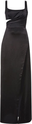 Brandon Maxwell Gathered Cutout Silk-Satin Gown