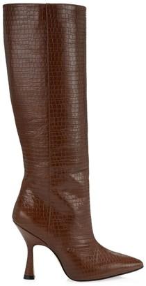 Stuart Weitzman Parton Crocodile-Embossed Leather Knee-High Boots
