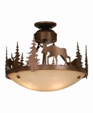 Vaxcel Yellowstone Amber Glass Rustic Moose Semi-Flush Mount Light or Pendant