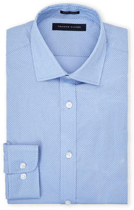Tommy Hilfiger Periwinkle Dotted Stretch Slim Dress Shirt