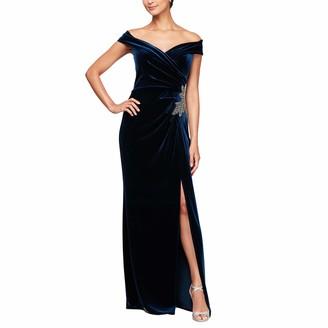 Alex Evenings Women's Long Off The Shoulder Velvet Dress