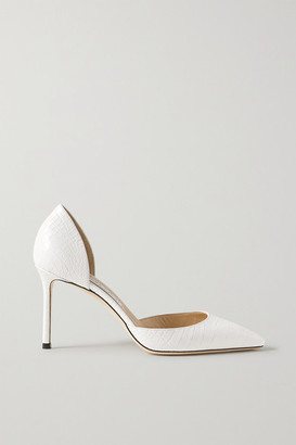 Jimmy Choo Esther 85 Croc-effect Leather Pumps - White