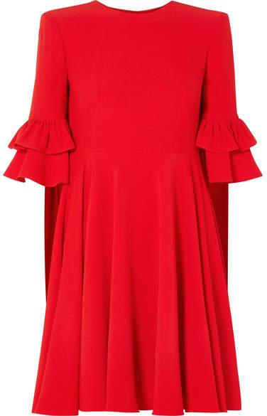 Alexander McQueen Ruffle-trimmed Crepe Mini Dress - Red