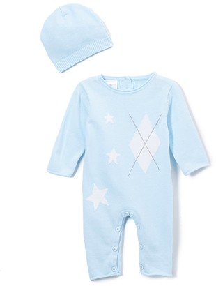 Baby Mode Signature Boys' Casual Pants BLUE - Light Blue Argyle Romper & Beanie - Newborn & Infant