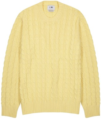 NN07 Yellow cable-knit cotton-blend jumper