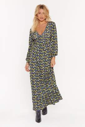Nasty Gal Womens What's the Twist Floral Maxi Dress - navy - 6