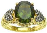 Judith Ripka 14K Clad Moldavite & Diamonique Ring