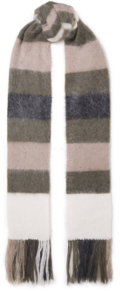 Brunello Cucinelli Fringed Striped Brushed-knitted Scarf