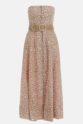 Zimmermann Pink Leopard Carnaby Bustier Midi Dress