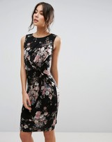 Yumi Dress With Twist Front In Floral Print