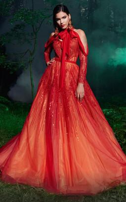 Fouad Sarkis Couture Cold Shoulder Embellished Evening Gown