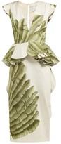 Johanna Ortiz Natural Listic Palm Leaf-print Cotton Dress - Womens - Ivory Multi