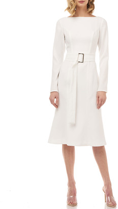 Kay Unger New York Quinn Long-Sleeve Belted Stretch Crepe Dress