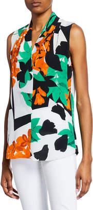 Kobi Halperin Mila Abstract Sleeveless Silk Blouse