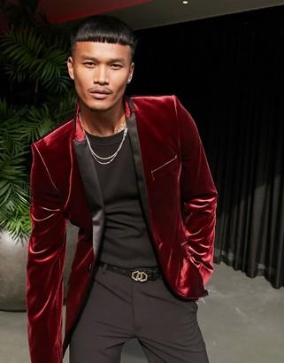 ASOS DESIGN super skinny tuxedo blazer in burgundy velvet