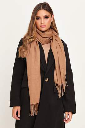 I SAW IT FIRST Tan Cashmere Blanket Scarf
